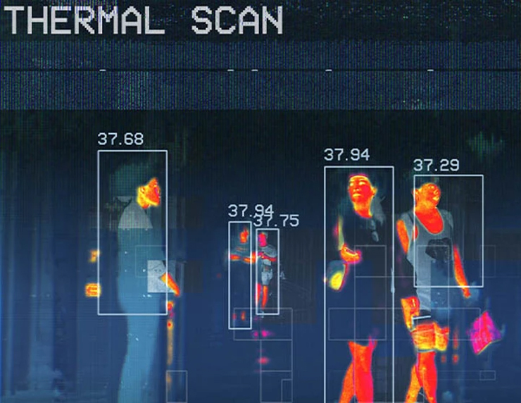Thermal scan showing people's temperature